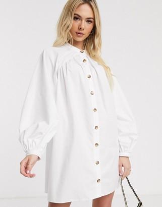 Asos Design DESIGN mini cotton trapeze dress with button through in white