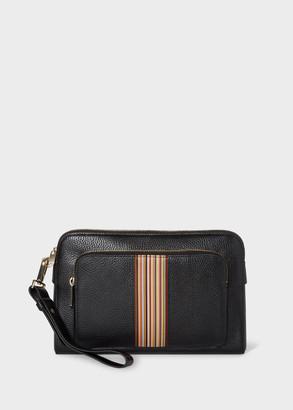 Paul Smith Men's Black Leather Signature Stripe Pouch