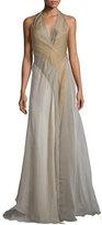Donna Karan Halter-Neck Tricolor Evening Gown, Vermeil