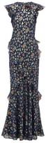 Saloni Tamara Floral-jacquard Silk-blend Maxi Dress - Womens - Navy Multi