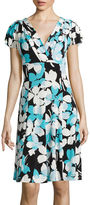 London Times London Style Collection Short-Sleeve Floral Fit-and-Flare Dress - Petite