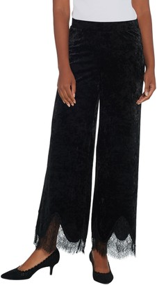 Isaac Mizrahi Live! Regular Crushed Velvet Wide Leg Pants w/ Lace Trim