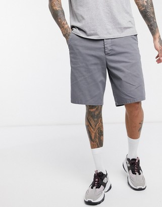 ASOS DESIGN relaxed skater chino shorts in washed gray