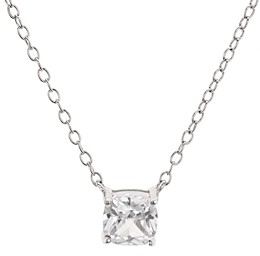 Aqua Cushion Cut Cubic Zirconia Pendant Necklace in Platinum-Plated Sterling Silver, 14 - 100% Exclusive