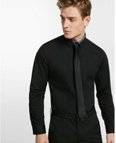 Express fitted solid piped dress shirt