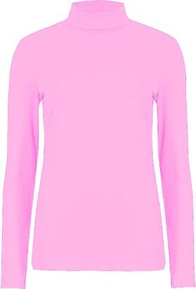 XuBiDuBi Women Long Sleeve Polo Neck Top Plain Pink