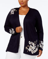Charter Club Plus Size Floral Jacquard Cardigan, Created for Macy's