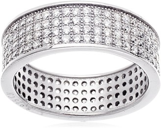 Bliss Swarovski Elements 18K White Gold-Plated Sterling Silver Band Size 8