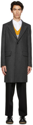 Ami Alexandre Mattiussi Grey Wool Two Buttons Coat