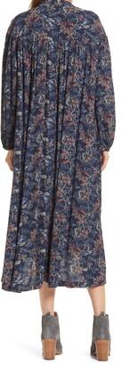 Treasure & Bond Floral Long Sleeve Woven Midi Dress