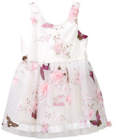 Baby Sara Butterfly & Flower Mesh Party Dress (Toddler & Little Girls)
