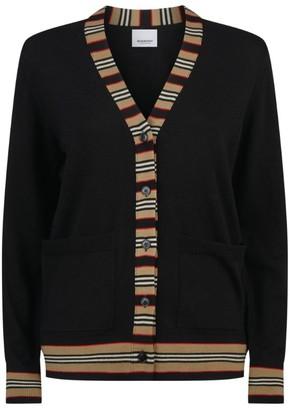 Burberry Wool Stripe Trim Cardigan