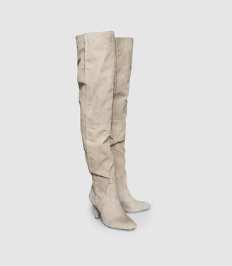 Reiss RAQUEL SUEDE OVER THE KNEE BOOTS Taupe