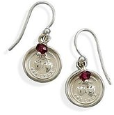West Coast Jewelry 925 Sterling Silver For Ever Hearts Charm and Garnet Bead Earrings