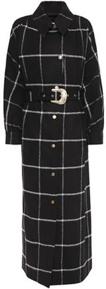 Just Cavalli Belted Checked Brushed-felt Coat