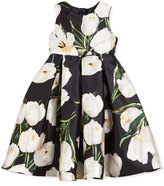 Dolce & Gabbana Sleeveless Pleated Mikado Tulip Dress, Black, Size 2-6