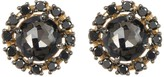 Suzanne Kalan 14K Yellow Gold Circle Black Quartz & Diamond Stud Earrings