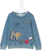 Little Marc Jacobs denim effect patched sweatshirt
