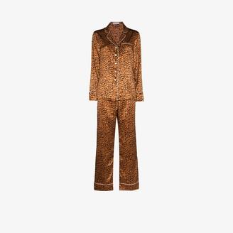 Olivia von Halle Lila Jinx leopard print silk pyjamas