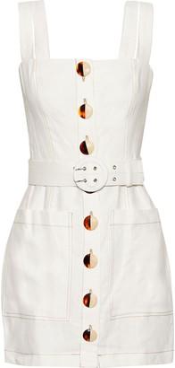Nicholas Belted Button-detailed Linen Mini Dress