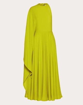 Valentino Georgette Dress Women Acid Green Elastane 100% 46