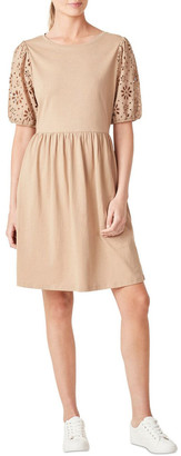 French Connection Broderie Sleeve Jersey Dress