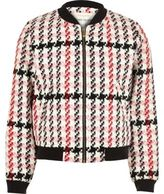 River Island Girls pink checked bomber jacket