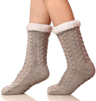 SDBING Women's Winter Super Soft Warm Cozy Fuzzy Fleece-Lined with Grippers Slipper Socks - Grey - One Size
