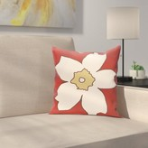 "Silvas Floral Throw Pillow Latitude Run Size: 16"" H x 16"" W, Color: Buddha / Ginger"