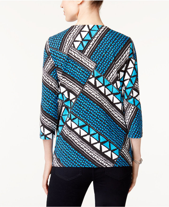 Alfred Dunner Easy Going Mixed-Print Top