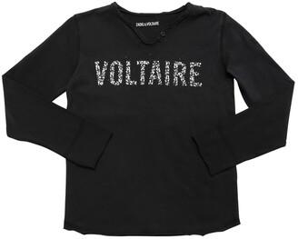 Zadig & Voltaire Embellished Logo Cotton Jersey T-Shirt