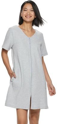 Croft & Barrow Women's Waffle-Knit Zip-Front Robe