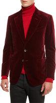 Tom Ford Shelton Base Velvet Sport Jacket, Burgundy