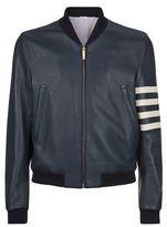 Thom Browne 4 Arm Stripe Leather Jacket