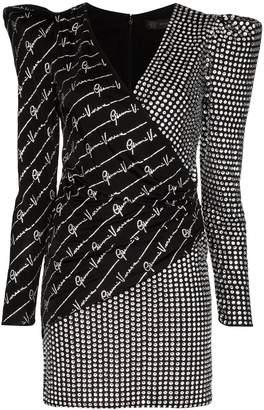 Versace v-neck embellished mini dress