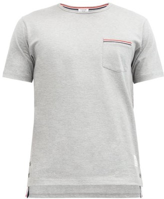 Thom Browne Tricolour-trimmed Cotton-jersey T-shirt - Light Grey