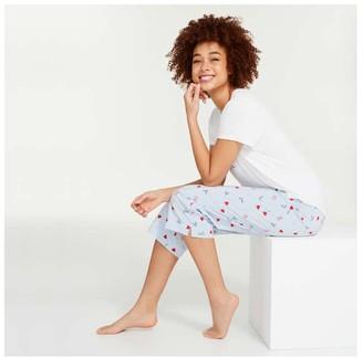 Joe Fresh Women's Essential Crop Sleep Pants, Light Blue (Size XS)