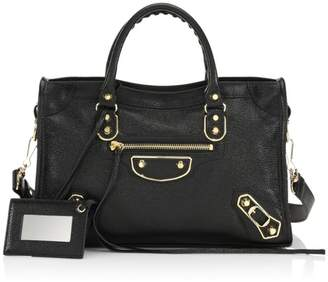Balenciaga Small Classic City Metallic Edge Leather Satchel