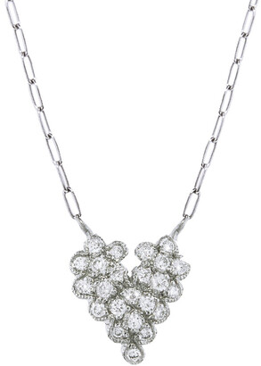 Cathy Waterman Scalloped Diamond Platinum Heart Necklace