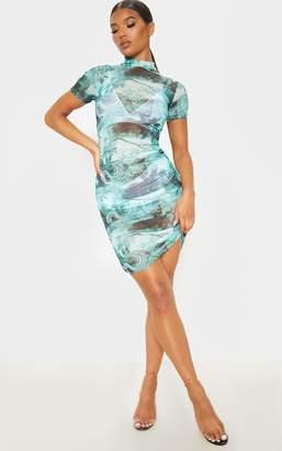 PrettyLittleThing Green Oriental Print Ruched Mesh Bodycon Dress