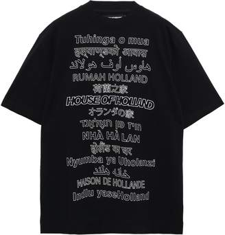 House of Holland Oversized Printed Stretch-cotton Jersey T-shirt
