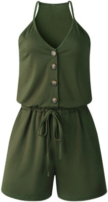 Goodnight Macaroon 'Kensley' V-neck Button Romper (5 Colors)