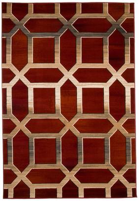 "Lavish Home Opus Art Deco Area Rug, Burgundy, 3'3"" x 5'"