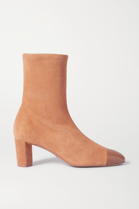 Stuart Weitzman Fernanda Suede And Leather Ankle Boots - Tan