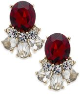 Charter Club Gold-Tone Clear and Red Crystal Stud Earrings, Created for Macy's