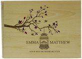 Darling Souvenir Handmade Rustic Wedding Wood Wooden Guest Book Personalized Name Engraved Bride & Groom Advice Book, Tree - 50 Pages