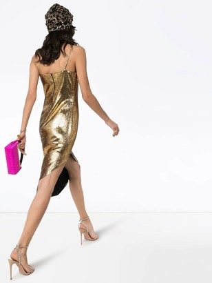 Halpern Asymmetric Gold Lame Dress