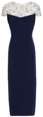Jenny Packham Embellished Tulle-paneled Stretch-crepe Midi Dress