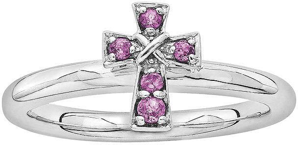 Silver Cross FINE JEWELRY Personally Stackable Genuine Rhodolite Garnet Sterling Ring