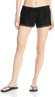 Seafolly Women's Shorts Printed Swim Shorts - Black -(Manufacturer Size: M)